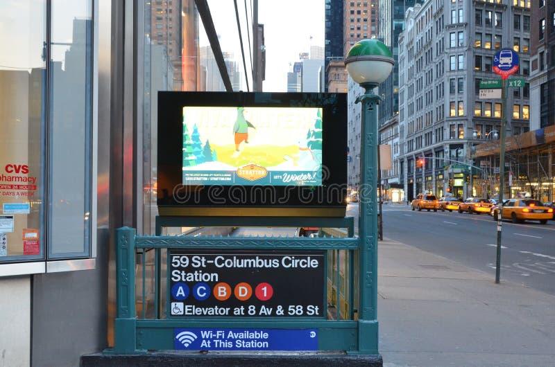 纽约地铁哥伦布圈子驻地 图库摄影