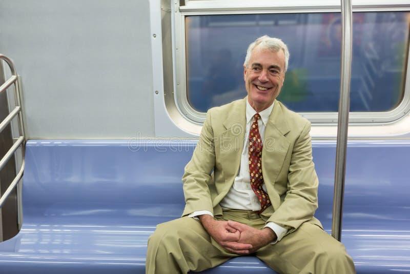 纽约地铁的老人 库存照片