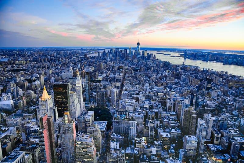 纽约城曼哈顿w自由塔和新泽西 免版税库存照片