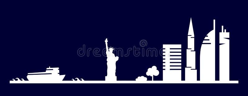 纽约大厦,摩天大楼,自由女神像在简单派slyle画的形状剪影平的艺术性的传染媒介设计  皇族释放例证