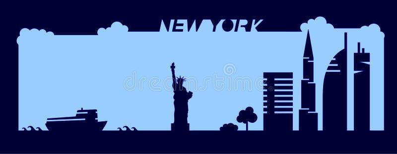 纽约大厦,摩天大楼,自由女神像在简单派slyle画的形状剪影平的艺术性的传染媒介设计  向量例证