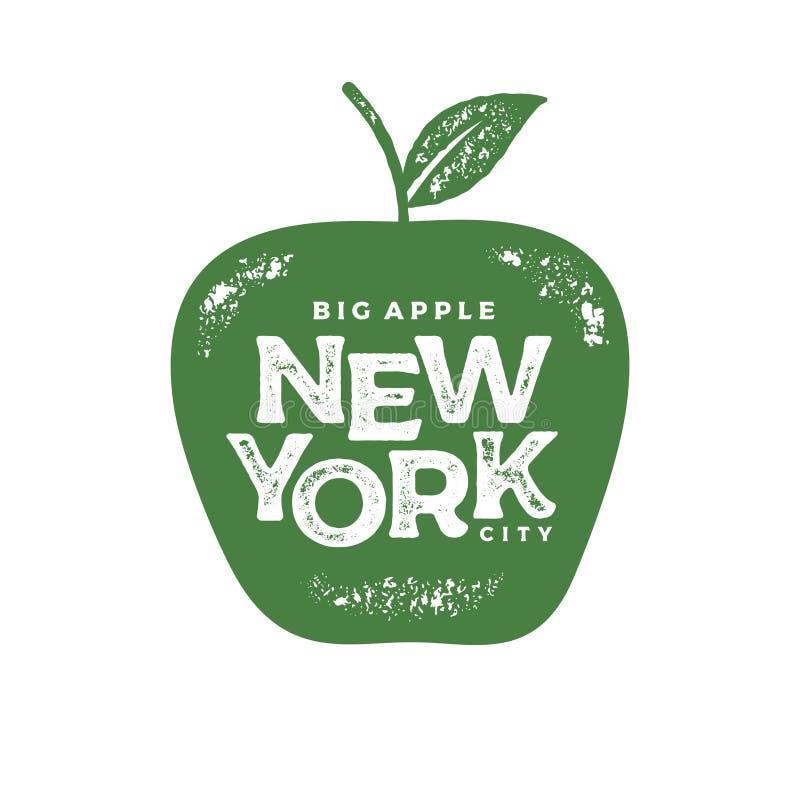 纽约大苹果印刷品绿色传染媒介例证 向量例证