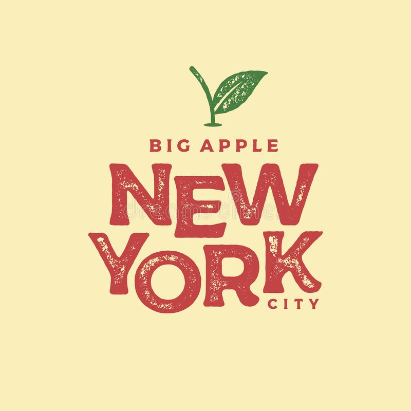 纽约大苹果印刷品颜色传染媒介例证 向量例证