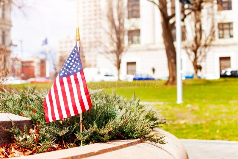 纽约州国会公园的美国国旗 库存图片