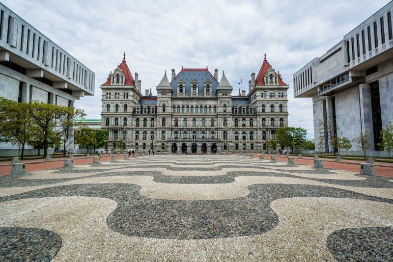 纽约州议会大厦和大厦在帝国状态广场,在阿尔巴尼,纽约 图库摄影