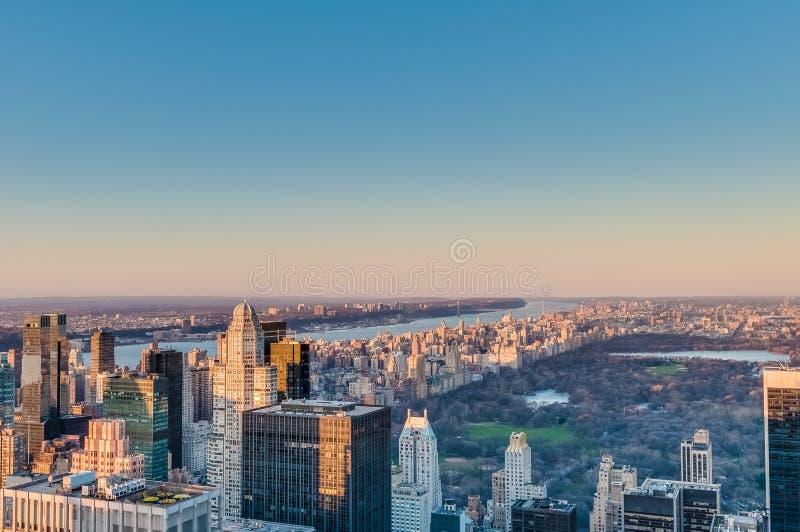 纽约市中城黄昏 库存图片
