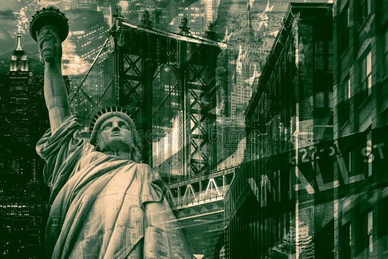 纽约拼贴画包括自由女神像和severa 图库摄影