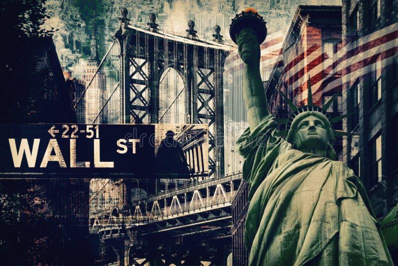 纽约拼贴画包括自由女神像和severa 库存照片