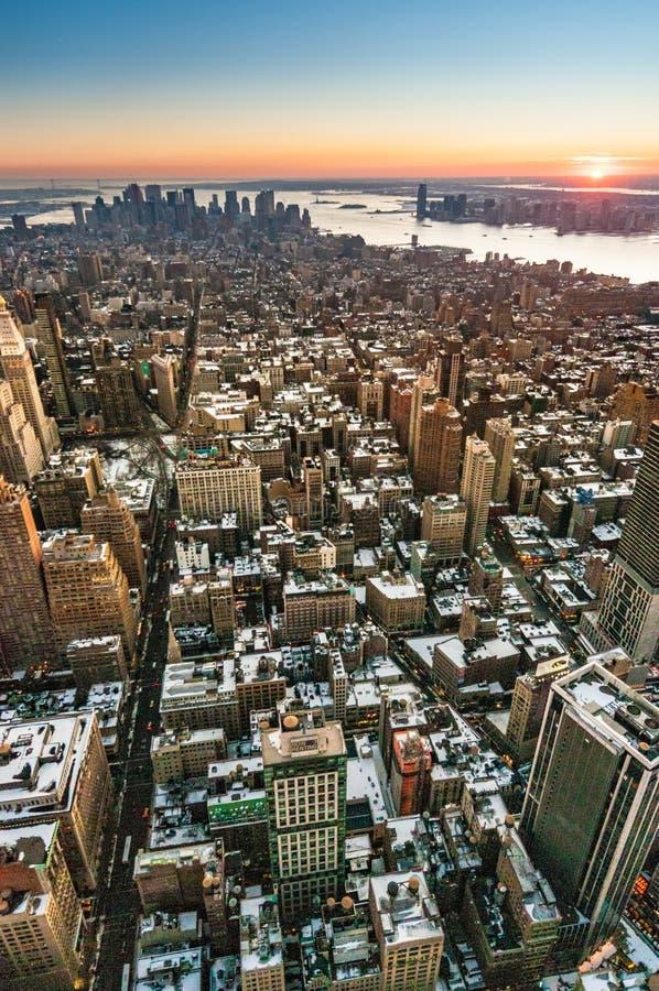 纽约曼哈顿下城黄昏 库存图片