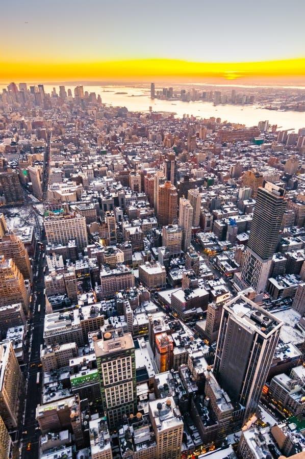 纽约曼哈顿下城黄昏 库存照片