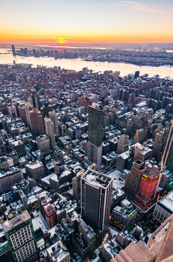 纽约曼哈顿下城黄昏 免版税库存照片