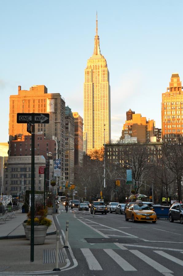 纽约曼哈顿与摩天大楼, NYC的中间地区视图 库存图片