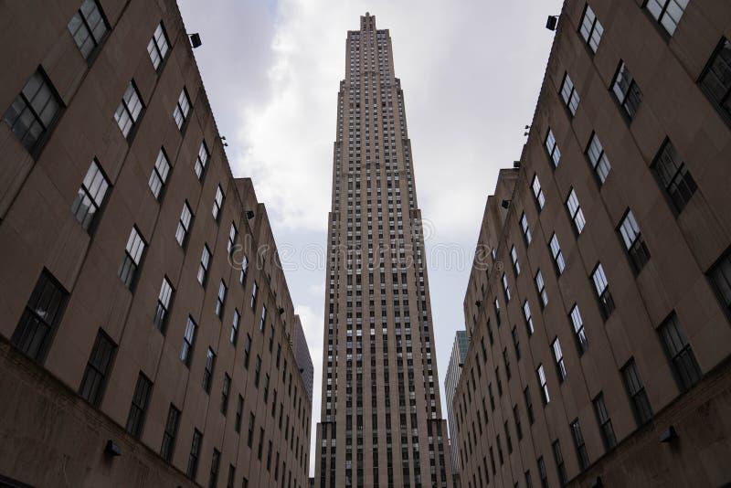 纽约曼哈顿中城第五大道洛克菲勒中心 免版税库存照片