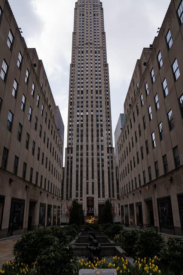 纽约曼哈顿中城第五大道洛克菲勒中心 免版税库存图片