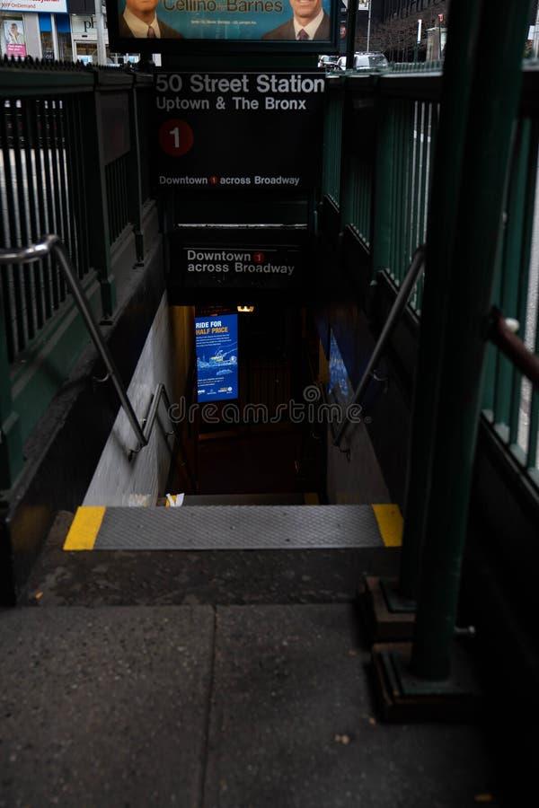 纽约曼哈顿中城街地铁站50号 库存图片