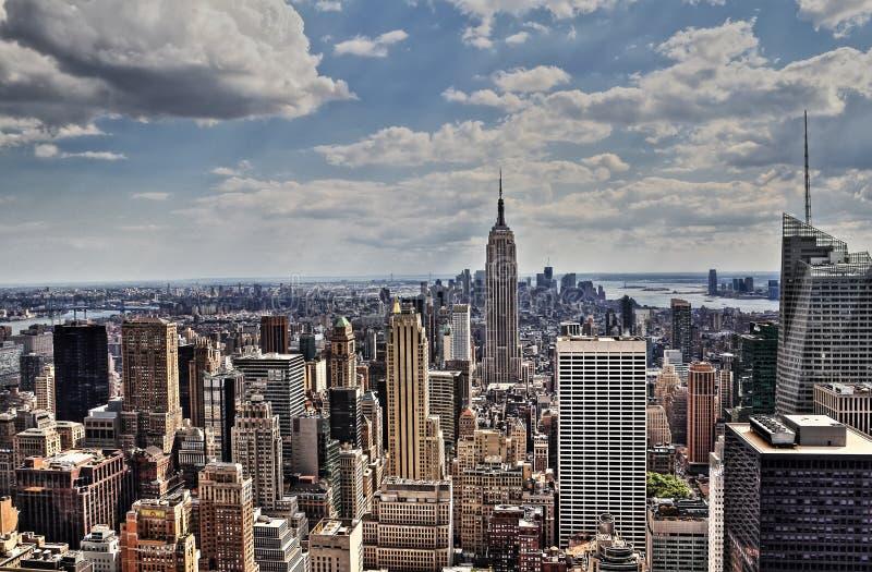 纽约曼哈顿中间地区天线全景 库存图片