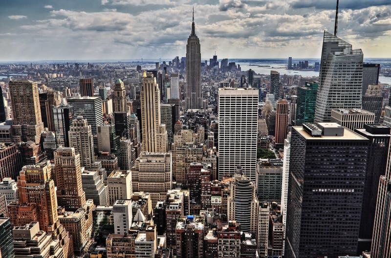纽约曼哈顿中间地区空中全景视图 免版税库存图片