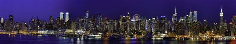 纽约曼哈顿Panaroma在晚上 库存图片