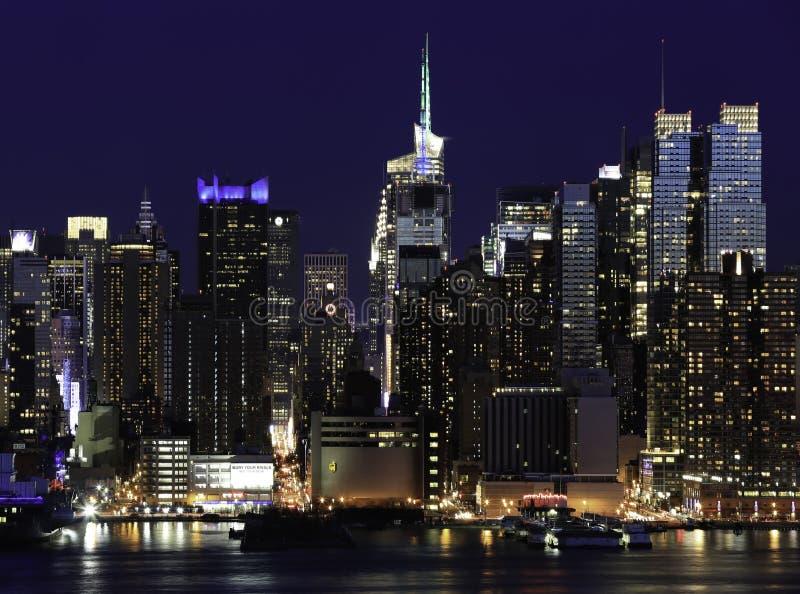 纽约曼哈顿在晚上 库存图片