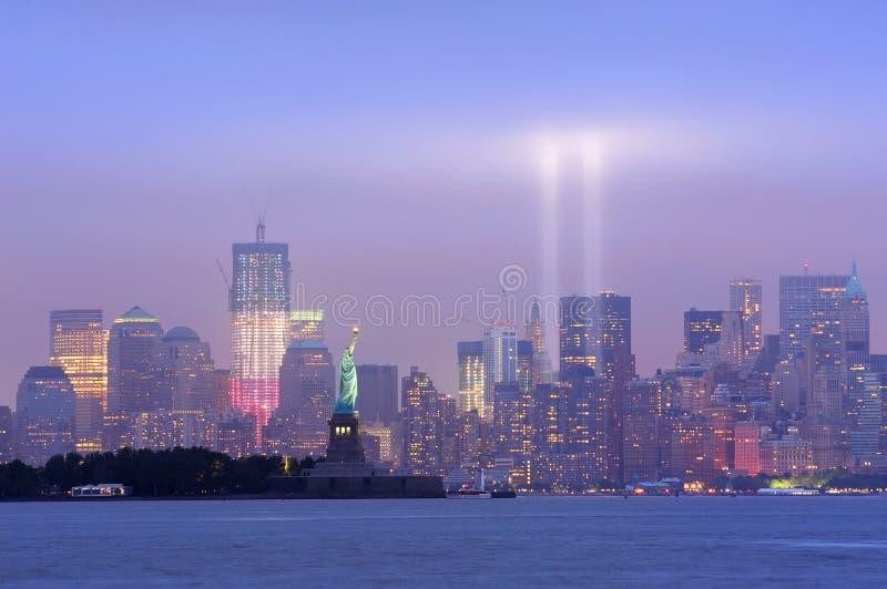 纽约曼哈顿街市晚上 库存图片