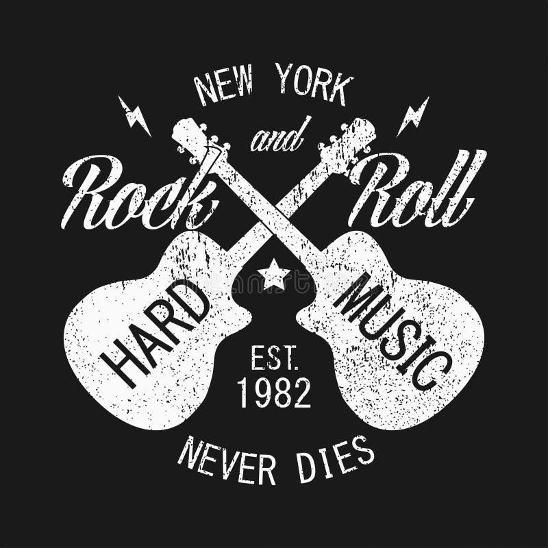纽约服装的摇滚n卷印刷品有吉他的 葡萄酒衣裳的设计 也corel凹道例证向量 库存例证