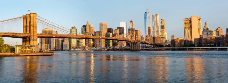 纽约独特的看法从布鲁克林大桥的 图库摄影