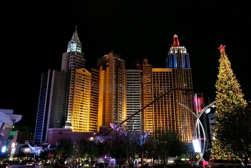 纽约纽约赌博娱乐场在圣诞节期间的晚上2018年 免版税库存照片