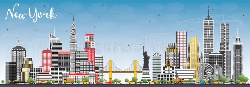 纽约美国与灰色摩天大楼和蓝天的市地平线 库存例证