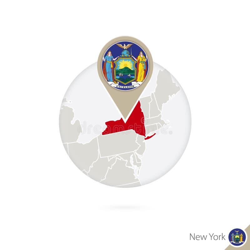 纽约美国各州地图和旗子在圈子 纽约,纽约地图旗子别针 纽约地图仿照地球样式的 向量例证