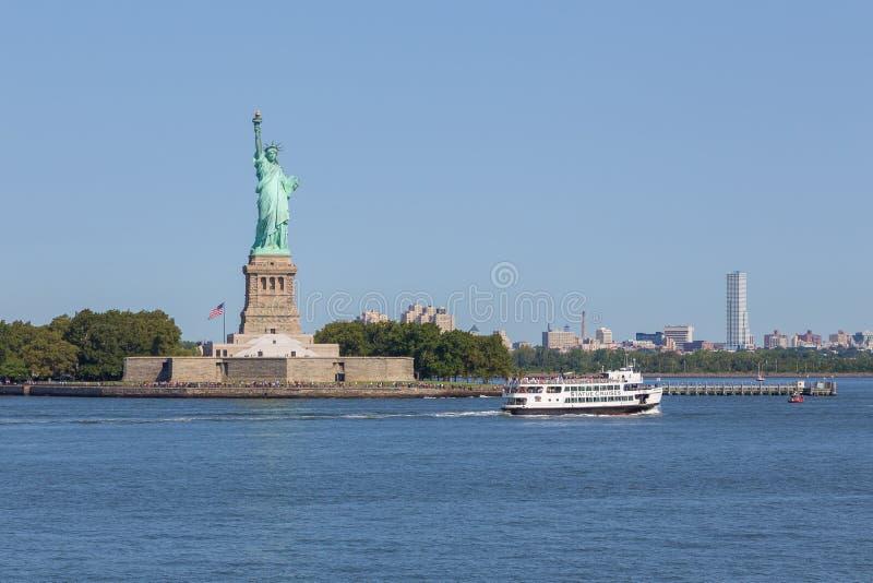 纽约自由女神象全景  库存图片