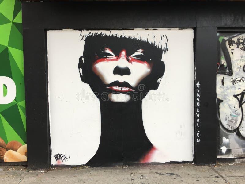 纽约艺术妇女白色NY街道艺术 免版税库存图片