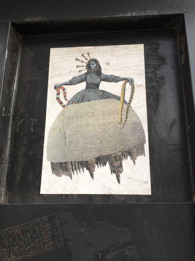 纽约艺术妇女白色NY街道艺术 库存图片