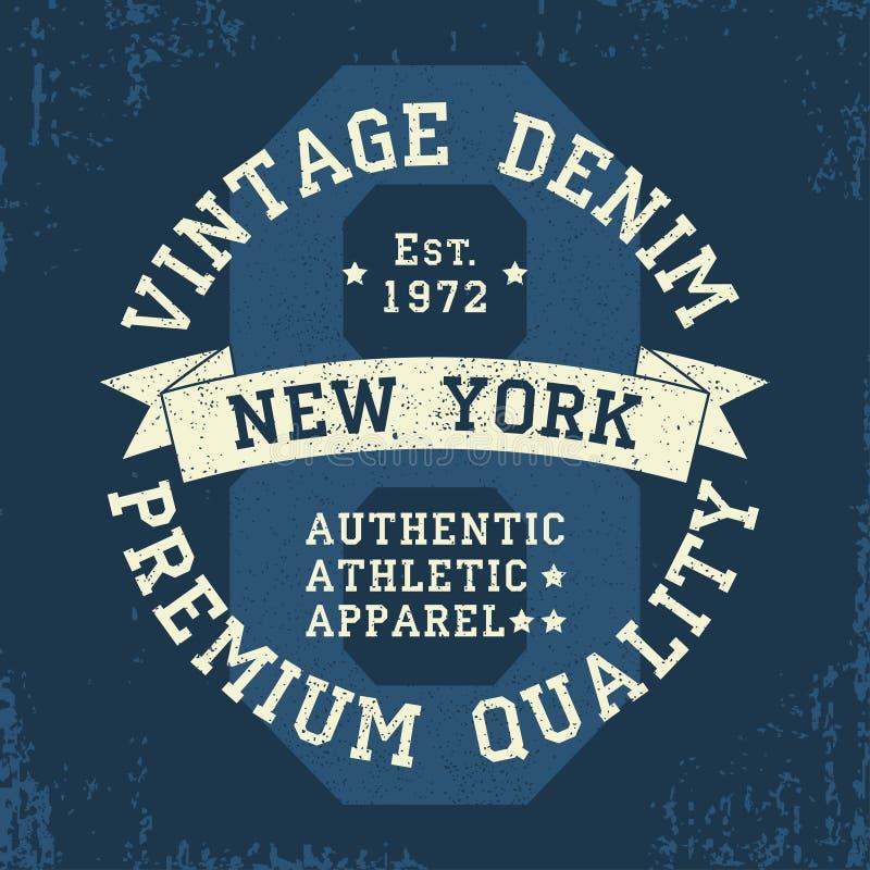 纽约葡萄酒T恤杉的难看的东西图表 原始的衣裳设计 地道运动服装印刷术 也corel凹道例证向量 库存例证