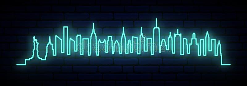 纽约蓝色霓虹地平线  向量例证