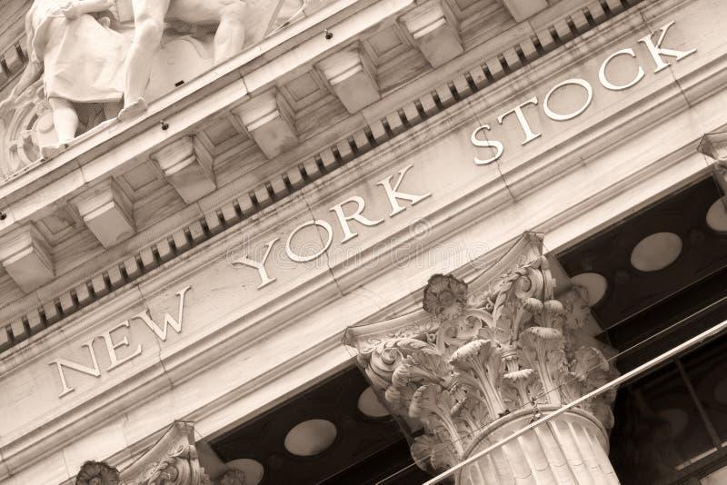 纽约证券交易所的细节在华尔街的在纽约 免版税库存图片