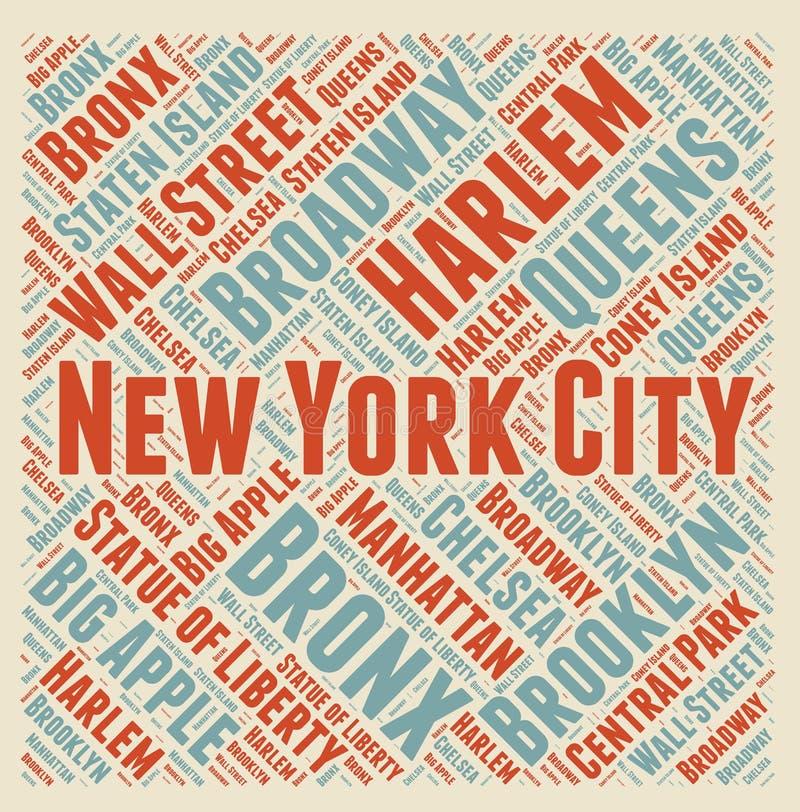 纽约词云彩 向量例证