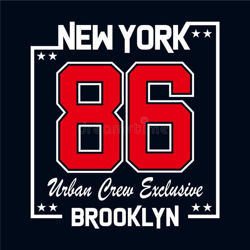 纽约都市乘员组专属印刷术设计 向量例证