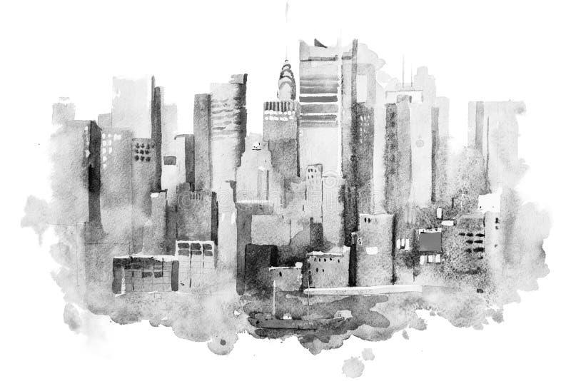 纽约都市风景水彩图画,美国 曼哈顿水彩画绘画 库存例证