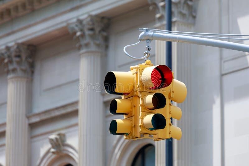 纽约黄色红绿灯 库存图片