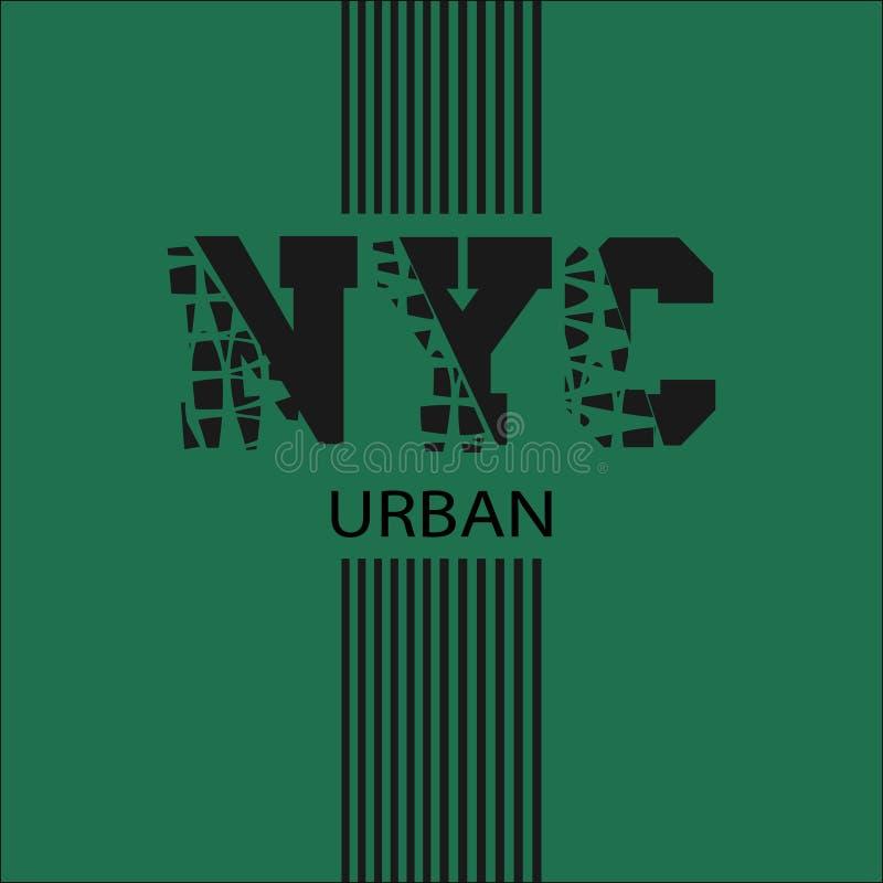 纽约,在T恤杉的题字 向量例证