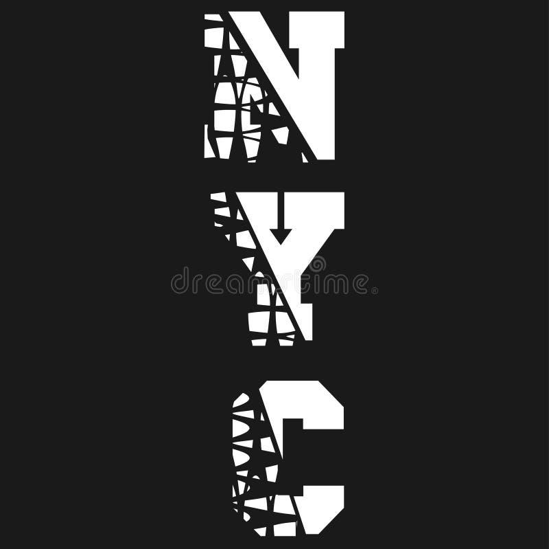 纽约,在T恤杉的题字 皇族释放例证