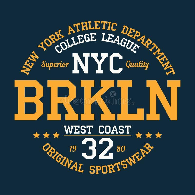 纽约,布鲁克林-设计的印刷术穿衣,运动T恤杉 印刷品产品的,服装图表 向量 向量例证