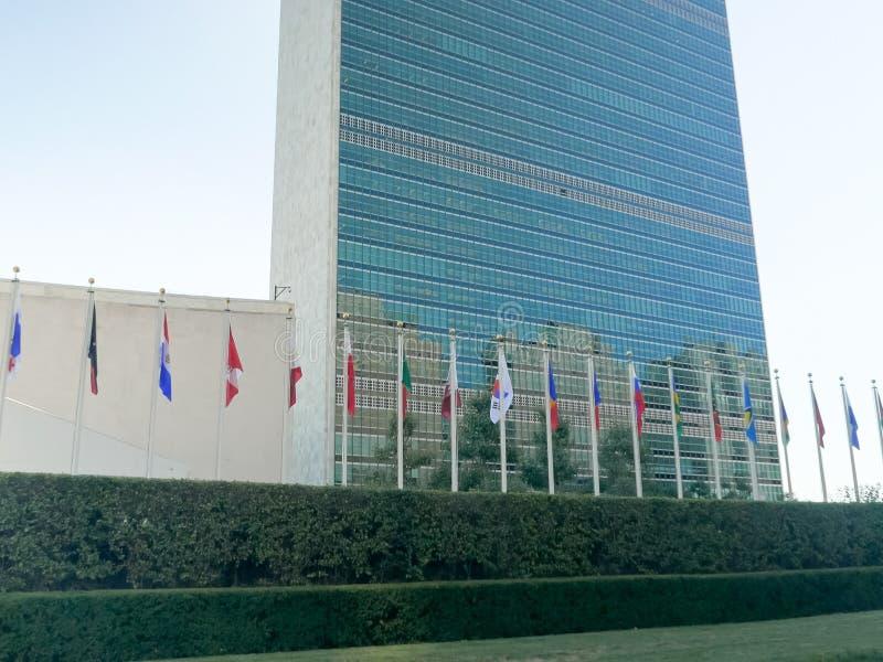 纽约,纽约,美国- 2015年9月16日:联合国大厦的外部的接近的看法,ny 库存图片