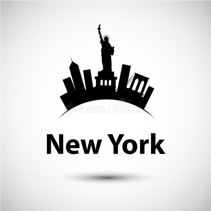 纽约,美国传染媒介剪影  免版税库存照片