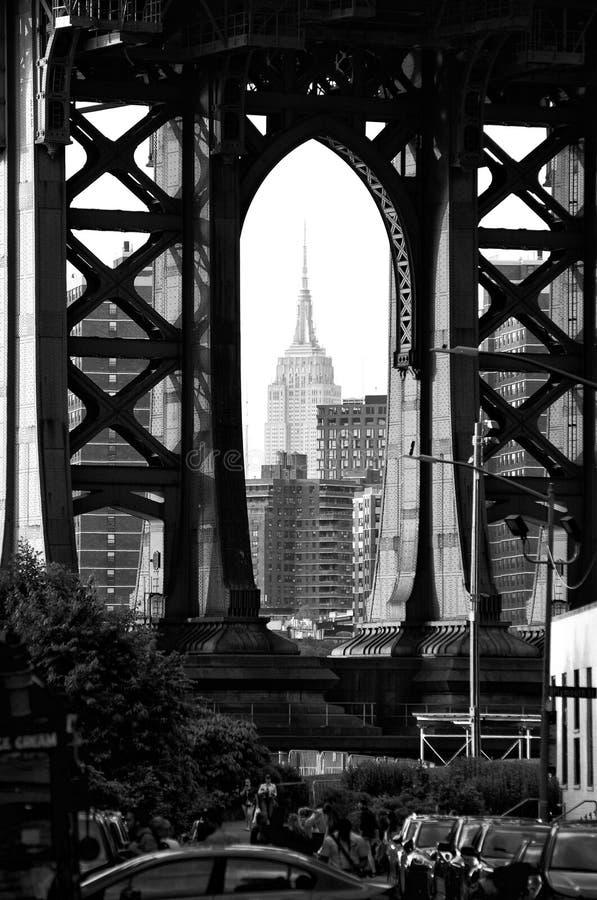 纽约,美国- 2018年6月9日:从布鲁克林的帝国大厦和曼哈顿大桥视图 免版税库存图片