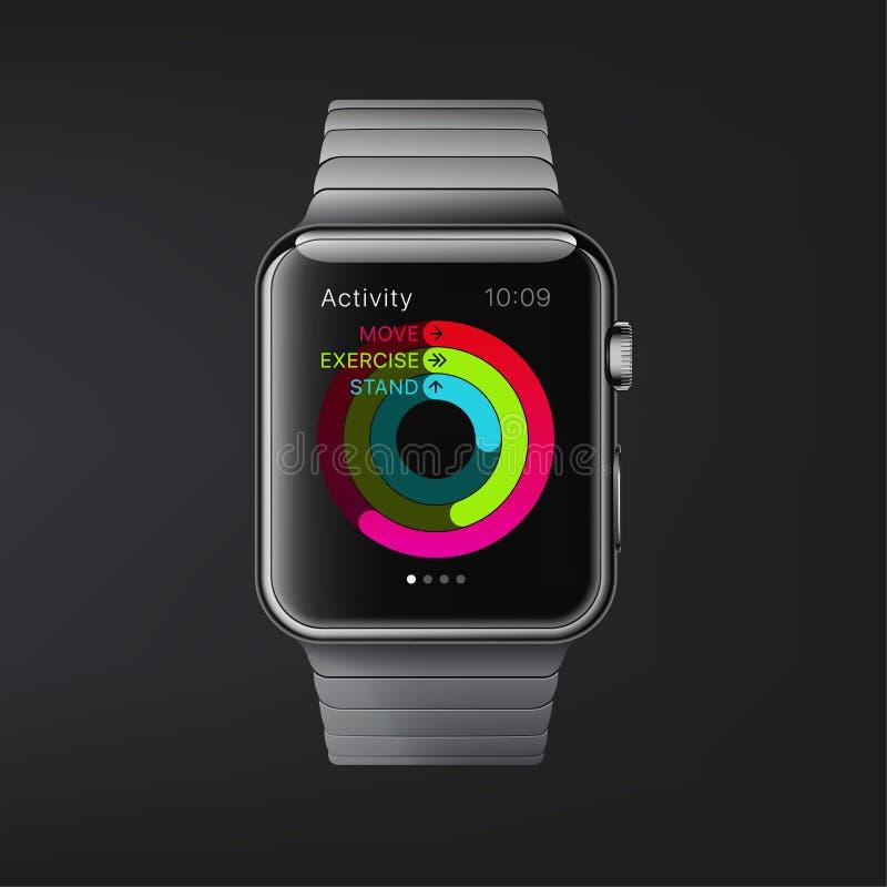 纽约,美国- 2018年8月22日:储蓄传染媒介例证现实新的苹果计算机手表 在黑暗的背景隔绝的巧妙的手表 库存例证