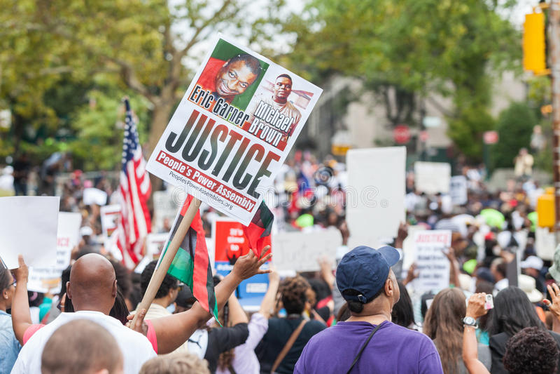 纽约,美国- 2014年8月23日:数千行军在Staten Islan 免版税库存图片