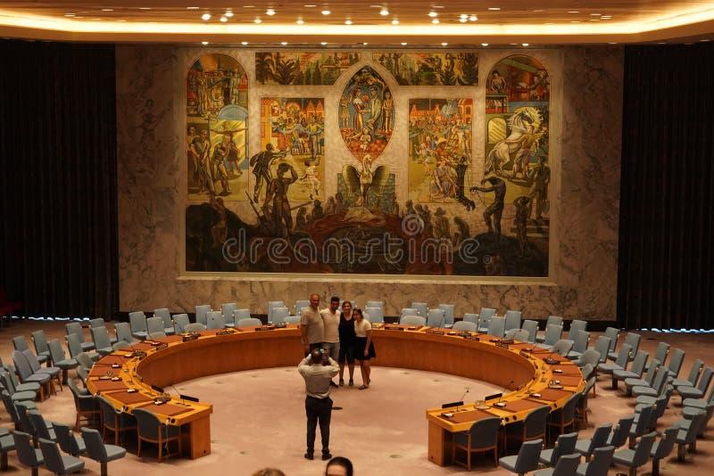 纽约,美国- 5月25日2018年联合国安全理事会大厅 库存照片