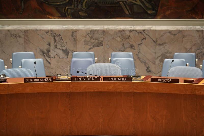 纽约,美国- 5月25日2018年联合国安全理事会大厅 库存图片