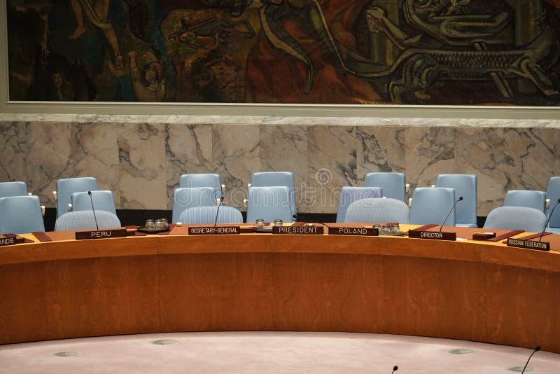 纽约,美国- 5月25日2018年联合国安全理事会大厅 免版税库存图片